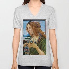 "Sandro Botticelli ""Allegorical Portrait of a Lady (Simonetta Vespucci ?)"" Unisex V-Neck"