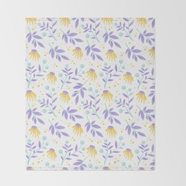 Yellow flowers and purple leaves Throw Blanket