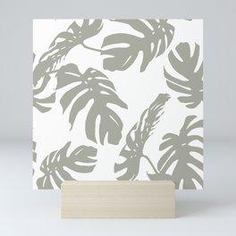 Simply Retro Gray Palm Leaves on White Mini Art Print
