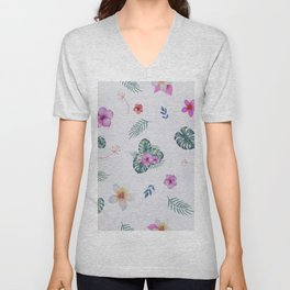 Exotic flowers and leaves Unisex V-Neck