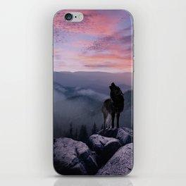 Lone Wolf at Sunset Ridge iPhone Skin