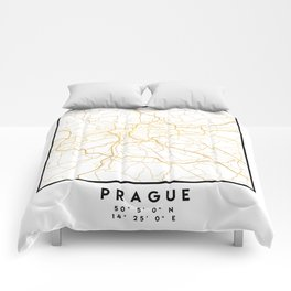 PRAGUE CZECH REPUBLIC CITY STREET MAP ART Comforters