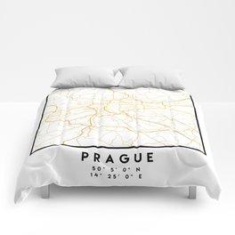 PRAGUE CZECH REPUBLIC CITY STREET MAP ART Comforters