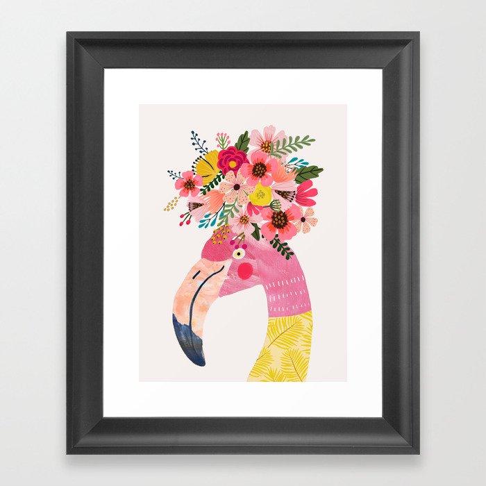 Pink flamingo with flowers on head Gerahmter Kunstdruck