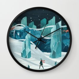 The wanderer and the ice forest Wall Clock