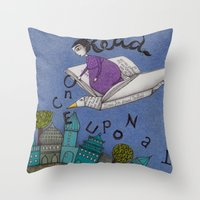 read Throw Pillows featuring Read by Judith Clay