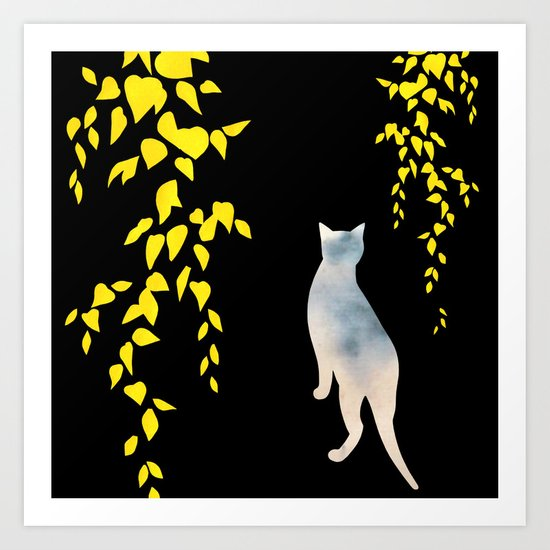 Japanese Cats Series - Yellow Leaves Art Print