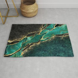 Abstract black marble green malachite background with golden veins Rug
