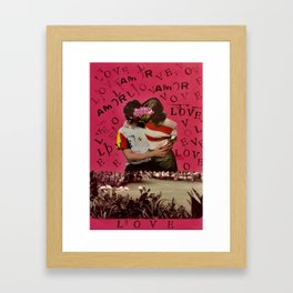 LOVE-AMOR, boy and girl kissing in front of a lake Framed Art Print