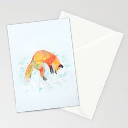 Leaping Fox Watercolor Stationery Cards