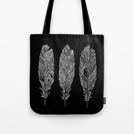 Patterned Plumes - White Tote Bag