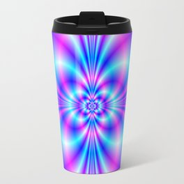 Butterfly Quatrefoil in Blue and Pink Travel Mug