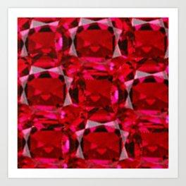 RUBY RED JULY GEM BIRTHSTONE  ART Art Print
