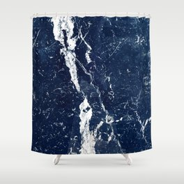 Cobalt Blue Contemporary Marble With Creamy White Veins Shower Curtain