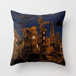 San Francisco! (Night, landscape version) Throw Pillow