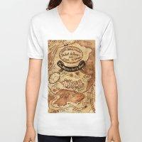 marauders V-neck T-shirts featuring Marauders Map by Dasha Borisenko