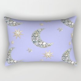 Vintage pearl button moon and stars on blue Rectangular Pillow