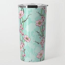 Japanese Garden - cherry blossom and anemones Travel Mug