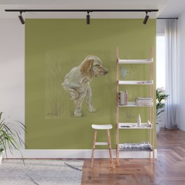 The First Spring Butterfly English Setter Puppy Pastel Drawing on green background Wall Mural