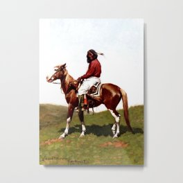 "Western Art ""Comanche Brave"" by Frederic Remington Metal Print"