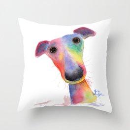 Nosey Dog Whippet / Greyhound ' HANK ' by Shirley MacArthur Throw Pillow