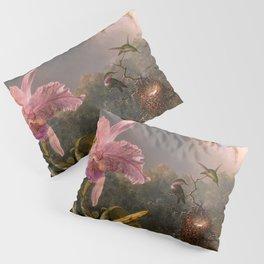 CATTLEYA ORCHID AND THREE BRAZILIAN HUMMINGBIRDS - MARTIN JOHNSON HEADE Pillow Sham