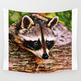 Wash Bear   Raccoon - Painting  Wall Tapestry