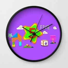 Number five - Kids Art Wall Clock