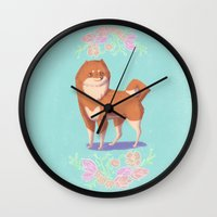 shiba Wall Clocks featuring Shiba Inu by Charlotte Foley