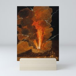 Mount Vesuvius erupting at night, billowing clouds and flashes of lightning Mini Art Print