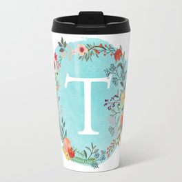 Personalized Monogram Initial Letter T Blue Watercolor Flower Wreath Artwork Travel Mug