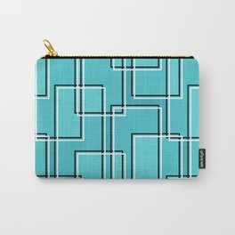 Turquoise Modern Abstract Geometric Rectangle Pattern Carry-All Pouch