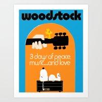 woodstock Art Prints featuring Woodstock by EleanorRose147
