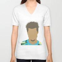 tyler durden V-neck T-shirts featuring Tyler Durden Fight Club by Rosaura Grant