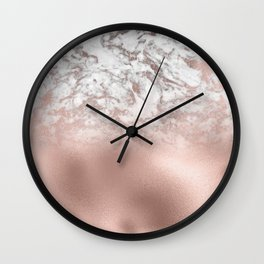 Modern chic white rose gold marble  Wall Clock