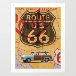 Route 66 Vintage Travel Poster Art Print