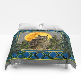 WILDERNESS OWL WITH FULL MOON PINE TREES Comforters