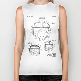 Football Helmet Patent - Football Art - Black And White Biker Tank