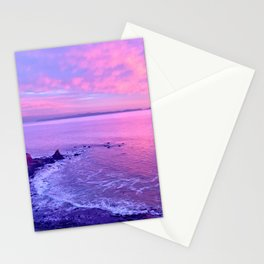 California Purple, Pink & Blue Dramatic Beach Sunset Stationery Cards