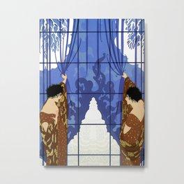 """Art Deco Illustration """"Winter's Arrival"""" by Erté Metal Print"""