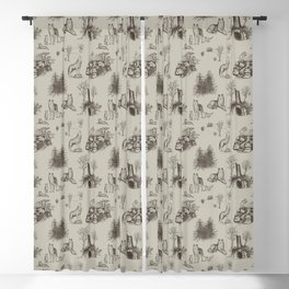Eurasian Wolf Toile Pattern (Beige and Brown) Blackout Curtain