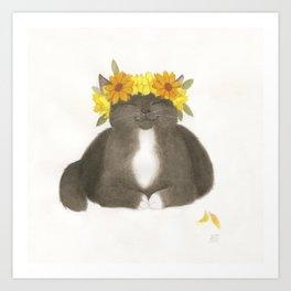 Flower Cat - Black With Yellow Art Print