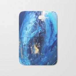 Vortex: a vibrant, blue and gold abstract mixed-media piece Bath Mat