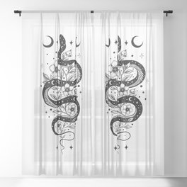 Serpent Spell -Black and White Sheer Curtain