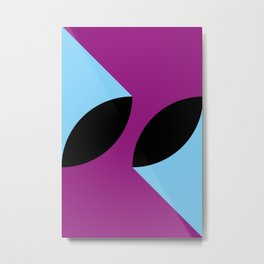 Two 3d seeds being thrown strongly, in a purple space. Metal Print