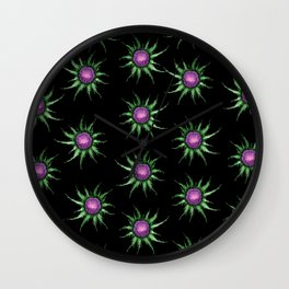 Pink Thistle Flowers On Black Pattern Wall Clock