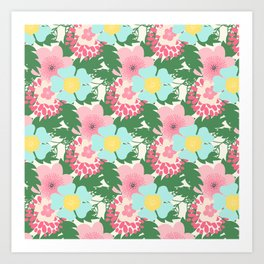 Modern pink teal green botanical tropical floral illustration Art Print