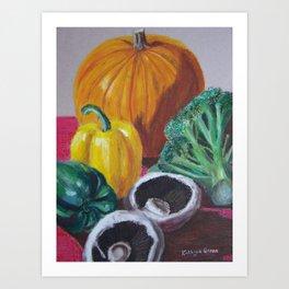 Vegetables in oil pastels Art Print