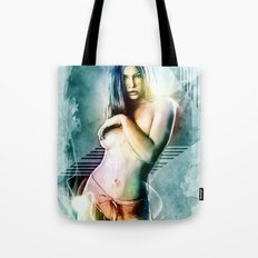 Jessica Biel Digital Painting Portrait Tote Bag