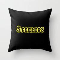 steelers Throw Pillows featuring Steelers by Judy Palkimas